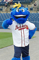 "Rome Braves mascot ""Romey"" at State Mutual Stadium on May 1, 2011 in Rome, Georgia.   Photo by Brian Westerholt / Four Seam Images"
