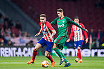 Saul Niguez Esclapez (L) of Atletico de Madrid fights for the ball with Aleksey Miranchuk of FC Lokomotiv Moscow during the UEFA Europa League 2017-18 Round of 16 (1st leg) match between Atletico de Madrid and FC Lokomotiv Moscow at Wanda Metropolitano  on March 08 2018 in Madrid, Spain. Photo by Diego Souto / Power Sport Images