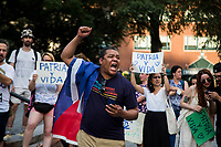 NEW YORK, NEW YORK - JULY 14: A man shouts in support of Cuban protesters in Union Square Park on July 14, 2021 in New York City. A small group of people gathered in Union Square Park in support of the Cuban people who have been protesting against the communist regime due to food shortages and the worsening of the economic crisis that has been exasperated by the coronavirus pandemic (COVID-19) . The protest on the island has been the largest protest against the government in decades. (Photo by Pablo Monsalve / VIEWpress via Getty Images)