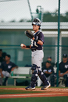 GCL Yankees East catcher Pedro Diaz (55) during the second game of a doubleheader against the GCL Pirates on July 31, 2018 at Pirate City Complex in Bradenton, Florida.  GCL Pirates defeated GCL Yankees East 12-4.  (Mike Janes/Four Seam Images)