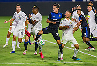 CARSON, CA - OCTOBER 14: Carlos Fierro #21 of the San Jose Earthquakes traps a ball during a game between San Jose Earthquakes and Los Angeles Galaxy at Dignity Heath Sports Park on October 14, 2020 in Carson, California.