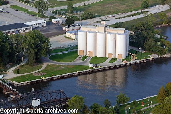 aerial photograph grain elevators commercial port Benton Harbor, Michigan
