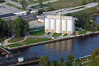 aerial photograph grain elevators commercial port Benton Harbor, Michigan