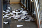 Hundreds of Rangers fans protest against the board at Ibrox Stadium this afternoon and post their demonstration cards through the doors of the Stadium