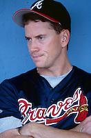 Tom Glavine of the Atlanta Braves participates in a Major League Baseball game at Dodger Stadium during the 1998 season in Los Angeles, California. (Larry Goren/Four Seam Images)