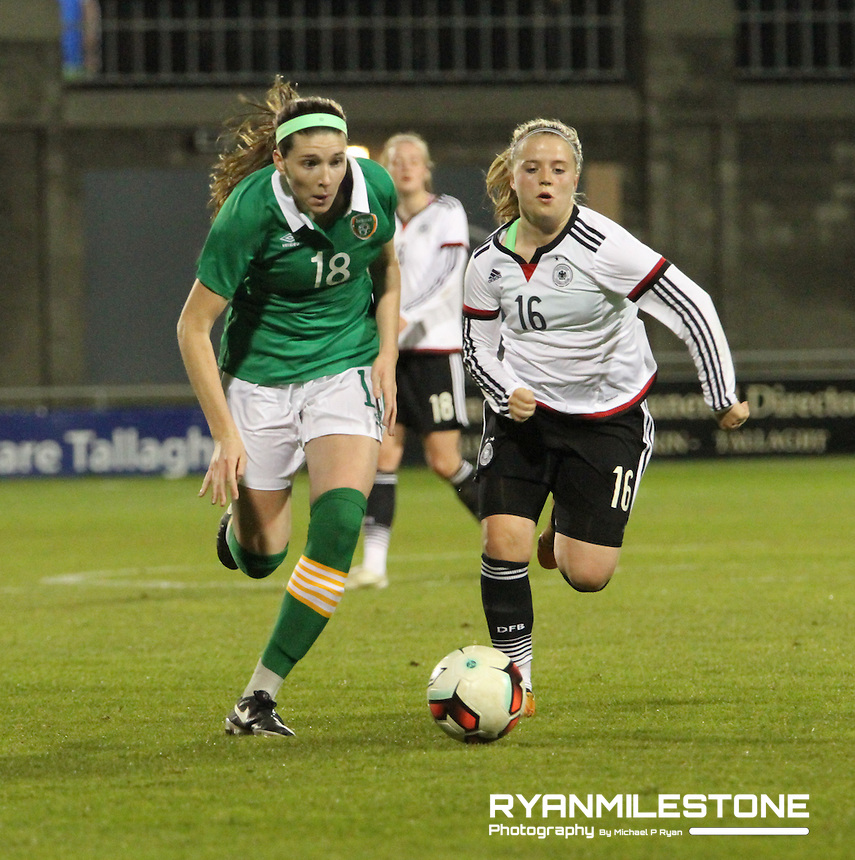 UEFA Women's Under-19 Championship Elite Round Republic of Ireland  V Germany, Tuesday April 5th 2016, Tallaght Stadium, Dublin,  Germany's Ricarda Walking in action against Republic of Ireland's Niamh Nelson