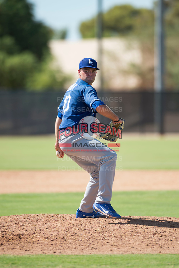 Los Angeles Dodgers relief pitcher Bryan Warzek (40) delivers a pitch during an Instructional League game against the Milwaukee Brewers at Maryvale Baseball Park on September 24, 2018 in Phoenix, Arizona. (Zachary Lucy/Four Seam Images)