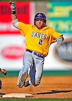 19 April 2009: University at Albany Great Danes' outfielder Dave West, a Senior from Toms River, NJ, slides into third base, attempting to stretch a double into a triple, but is tagged out on the play against the University of Vermont Catamounts at Historic Centennial Field in Burlington, Vermont. The Great Danes defeated the Catamounts 9-4 in the second game of a double-header. Sadly, the Catamounts are playing their last season of baseball, as the program has been marked for elimination due to budgetary constraints on the University. Mandatory Photo Credit: Ed Wolfstein Photo