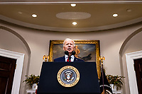 United States President Joe Biden addresses the nation after the US House passed the American Rescue Plan and sent it to the US Senate for consideration from the Rosevelt Room of the White House in Washington, D.C. on February 27, 2020. <br /> Credit: Sam Corum / Pool via CNP /MediaPunch