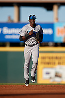 Tampa Tarpons center fielder Estevan Florial (34) jogs back to the dugout during a game against the Bradenton Marauders on April 25, 2018 at LECOM Park in Bradenton, Florida.  Tampa defeated Bradenton 7-3.  (Mike Janes/Four Seam Images)