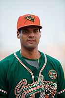 Greensboro Grasshoppers pitcher Nestor Bautista (39) walks to the dugout after a game against the Lakewood BlueClaws on June 10, 2018 at First National Bank Field in Greensboro, North Carolina.  Lakewood defeated Greensboro 2-0.  (Mike Janes/Four Seam Images)