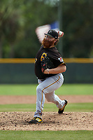 Pittsburgh Pirates pitcher Matt Eckelman (97) during a Minor League Spring Training game against the Baltimore Orioles on April 21, 2021 at Pirate City in Bradenton, Florida.  (Mike Janes/Four Seam Images)