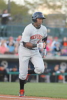 Frederick Keys infielder Aderlin Rodriguez (9) at bat during a game against the Myrtle Beach Pelicans at Ticketreturn.com Field at Pelicans Ballpark on April 8, 2016 in Myrtle Beach, South Carolina. Frederick defeated Myrtle Beach 5-2. (Robert Gurganus/Four Seam Images)