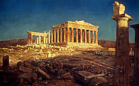 Greece: Athens--The Parthenon. Oil on canvas painting by Frederic Edwin Church, 1871. Met. Mus. of Art. Ref. only.