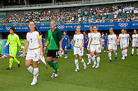 The USWNT takes the field before playing at Qinhuangdao Stadium. The US defeated Japan, 1-0, during first round play at the 2008 Beijing Olympics in Qinhuangdao, China.