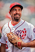 20 May 2018: Washington Nationals third baseman Anthony Rendon returns to the dugout during a game against the Los Angeles Dodgers at Nationals Park in Washington, DC. The Dodgers defeated the Nationals 7-2, sweeping their 3-game series. Mandatory Credit: Ed Wolfstein Photo *** RAW (NEF) Image File Available ***