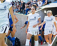 CARY, NC - SEPTEMBER 12: Sophia Smith #9 of the Portland Thorns takes the field before a game between Portland Thorns FC and North Carolina Courage at WakeMed Soccer Park on September 12, 2021 in Cary, North Carolina.
