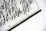People take a walk around Fort Goryokaku park covered with snow. <br /> <br /> Les gens se promènent dans le parc du Fort Goryokaku, couvert de neige.