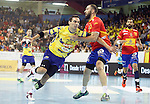 Spain's Joan Canellas (r) and Bosnia Herzegovina's Marin Vegar during 2018 Men's European Championship Qualification 2 match. November 2,2016. (ALTERPHOTOS/Acero)