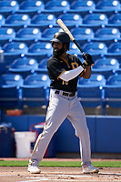 Pittsburgh Pirates Brian Goodwin (18) bats during a Major League Spring Training game against the Toronto Blue Jays on March 1, 2021 at TD Ballpark in Dunedin, Florida.  (Mike Janes/Four Seam Images)