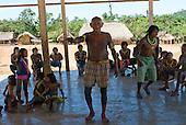 Pará State, Brazil. Aldeia Pukararankre (Kayapo). Cacique Kadjunhoro in the warriors' house.