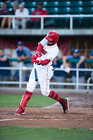 Orem Owlz third baseman Kevin Maitan (9) hits a home run during a Pioneer League game against the Ogden Raptors at Home of the OWLZ on August 24, 2018 in Orem, Utah. The Ogden Raptors defeated the Orem Owlz by a score of 13-5. (Zachary Lucy/Four Seam Images)