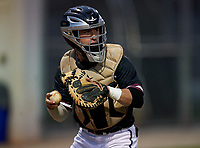 Riverview Rams catcher Kyle Upman (4) during warmups before a game against the Sarasota Sailors on February 19, 2021 at Rams Baseball Complex in Sarasota, Florida. (Mike Janes/Four Seam Images)