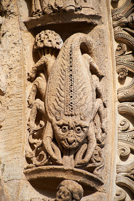 West Facade, Left Portal archivolts c. 1145. Cathedral of Chartres, France. Gothic statues of the archivolts on which are the Signs of the Zodiac and the Labors of the Months. See Fassler, pp 507-10.. A UNESCO World Heritage Site. .