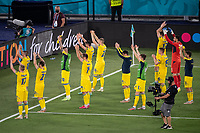 3rd July 2021, Stadio Olimpico, Rome, Italy;  Euro 2020 Football Championships, England versus Ukraine quarter final;  Ukraine squad thank their fans in the stands after the match