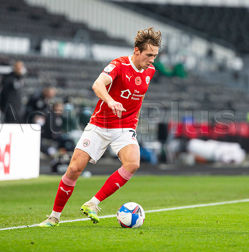 7th November 2020; Pride Park, Derby, East Midlands; English Football League Championship Football, Derby County versus Barnsley; Callum Brittain of Barnsley turns quickly with the ball at his feet