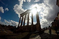 Ruins of the Temple of Saturn are seen in the Roman Forum on Wednesday, Sept. 23, 2015, in Rome, Italy. (Photo by Barbara Brosher)