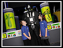 03/05/2009  Copyright  Pic : James Stewart.37_the_buzz.**** FREE FIRST USE WHEN USED IN RELATION TO  OPENING OF THE BUZZ ****.THE UK'S LARGEST SOFT PLAY AND LASER QUEST ARENA OPENS IN FALKIRK...... .ELLINS COLLINS (8) AND LAURYN TURNBULL (9) WITH DARTH VADER.....For more information contact Jonathan Kennedy or Alison Jack at Wave PR on 0141 303 8390 / 07803 137262..James Stewart Photography 19 Carronlea Drive, Falkirk. FK2 8DN      Vat Reg No. 607 6932 25.Telephone      : +44 (0)1324 570291 .Mobile              : +44 (0)7721 416997.E-mail  :  jim@jspa.co.uk.If you require further information then contact Jim Stewart on any of the numbers above.........