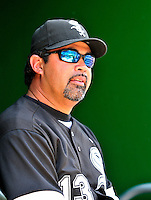 20 June 2010: Chicago White Sox Manager Ozzie Guillen looks out from the dugout during a game against the Washington Nationals at Nationals Park in Washington, DC. The White Sox swept the Nationals winning 6-3 in the last game of their 3-game interleague series. Mandatory Credit: Ed Wolfstein Photo