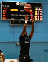 Martelle McLemore of Surrey Scorchers with a free-throw during the BBL Championship match between Surrey Scorchers and Newcastle Eagles at Surrey Sports Park, Guildford, England on 20 March 2021. Photo by Liam McAvoy.