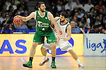 Real Madrid´s Facundo Campazzo and Unicaja´s Stefan Markovic during 2014-15 Liga Endesa match between Real Madrid and Unicaja at Palacio de los Deportes stadium in Madrid, Spain. April 30, 2015. (ALTERPHOTOS/Luis Fernandez)