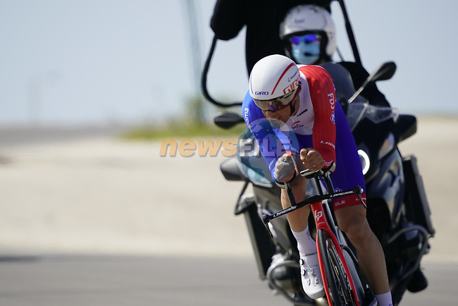Matthieu Ladagnous (FRA) Groupama-FDJ first rider to start Stage 2 of the 2021 UAE Tour an individual time trial running 13km around  Al Hudayriyat Island, Abu Dhabi, UAE. 22nd February 2021.  <br /> Picture: Eoin Clarke | Cyclefile<br /> <br /> All photos usage must carry mandatory copyright credit (© Cyclefile | Eoin Clarke)