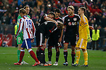 Bayer 04 Leverkusen´s players sadness after losing the UEFA Champions League round of 16 second leg match between Atletico de Madrid and Bayer 04 Leverkusen on the penalty shootouts at Vicente Calderon stadium in Madrid, Spain. March 17, 2015. (ALTERPHOTOS/Victor Blanco)