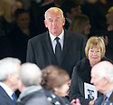Former Rangers player Peter McCloy leaves Mortonhall Crematorium after the funeral service for Sandy Jardine.