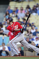 Washington Nationals outfielder Jayson Werth #28 bats against the Los Angeles Dodgers at Dodger Stadium on July 23, 2011 in Los Angeles,California. Los Angeles defeated Washington 7-6.(Larry Goren/Four Seam Images)