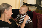 5 month old baby boy smiling interaction with grandmother