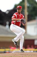 Batavia Muckdogs pitcher Gabriel Castellanos (37) delivers a pitch during the first game of a doubleheader against the Williamsport Crosscutters on July 29, 2014 at Dwyer Stadium in Batavia, New York.  Williamsport defeated Batavia 3-2.  (Mike Janes/Four Seam Images)