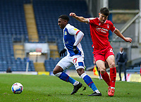 Blackburn Rovers' Amari'i Bell battles with Nottingham Forest's Joe Lolley<br /> <br /> Photographer Alex Dodd/CameraSport<br /> <br /> The EFL Sky Bet Championship - Blackburn Rovers v Nottingham Forest - Saturday 17th October 2020 - Ewood Park - Blackburn<br /> <br /> World Copyright © 2020 CameraSport. All rights reserved. 43 Linden Ave. Countesthorpe. Leicester. England. LE8 5PG - Tel: +44 (0) 116 277 4147 - admin@camerasport.com - www.camerasport.com