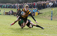 Saturday 17th February 2018 | RBAI vs Sullivan<br /> <br /> Jude Postlethwaite is tackled short of the line during the Ulster Schools' Cup Quarterfinal between RBAI and Sullivan at Cranmore Park, Belfast, Northern Ireland. Photo by John Dickson / DICKSONDIGITAL