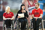 FEBRUARY 26, 2016, TORONTO, ON; Team Canada Chef de Mission for the 2016 Paralympic Team, Chantal Petitclerc vists TPASC to support the Canadian Men's Wheelchair Basketball hopefuls. Special guests included Olympians Mark Tewksbury, Curt Harnett, Ex-Maple Leaf Peter Ihnacak and Toronto FC alumni Dwayne De Rosario.  Photo: Dan Galbraith / Canadian Paralympic Committee