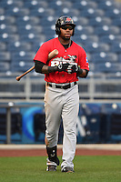 Frisco Rough Riders outfielder Chris Grayson (36) walks to the plate for an at bat during the first game of a doubleheader against the Tulsa Drillers on May 29, 2014 at ONEOK Field in Tulsa, Oklahoma.  Frisco defeated Tulsa 13-4.  (Mike Janes/Four Seam Images)