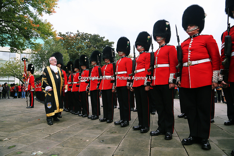 Pictured: Councillor Philip Downing inspects the Welsh Guards in Castle Square in Swansea.  Friday 15 September 2017<br />Re: Soldiers from the Welsh Guards have exercised their freedom to march through the streets of Swansea in Wales, UK.<br />The Welsh warriors paraded with bayonets-fixed from the city centre to the Brangwyn Hall, where the Lord Mayor of Swansea took a salute.