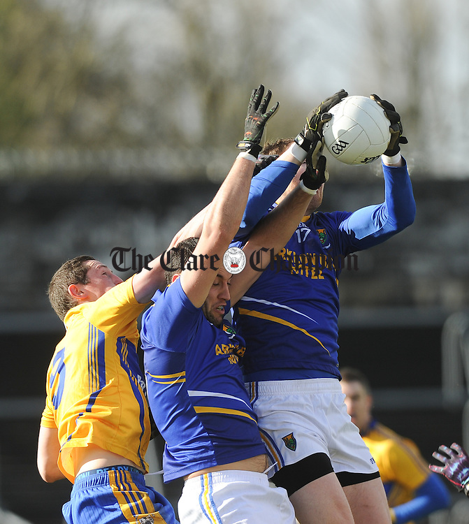 Cathal O Connor of Clare in action against Anthony Mc Loughlin and James Stafford of Wicklow during their National League division 4 round 4 game at Cusack Park. Photograph by John Kelly.