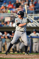 Staten Island Yankees first baseman Connor Spencer (56) at bat during a game against the Batavia Muckdogs on August 8, 2014 at Dwyer Stadium in Batavia, New York.  Staten Island defeated Batavia 4-2.  (Mike Janes/Four Seam Images)