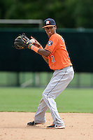 Houston Astros infielder Jeffry Santos (57) during practice before an Instructional League game against the Atlanta Braves on September 22, 2014 at the ESPN Wide World of Sports Complex in Kissimmee, Florida.  (Mike Janes/Four Seam Images)
