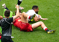 Joe Cokanasiga (Bath Rugby) of England scores his 2nd try during the Autumn International match between England and Canada at Twickenham Stadium, London, England on 10 July 2021. Photo by Liam McAvoy.